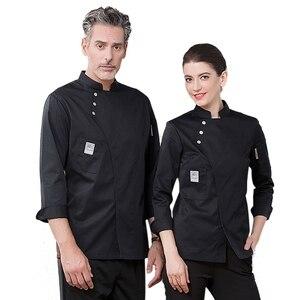 Image 3 - Yeni şef üniforma Unisex şef elbise fırın restoran mutfak iş elbisesi uzun kollu garson Catering şef ceketler Jaleco