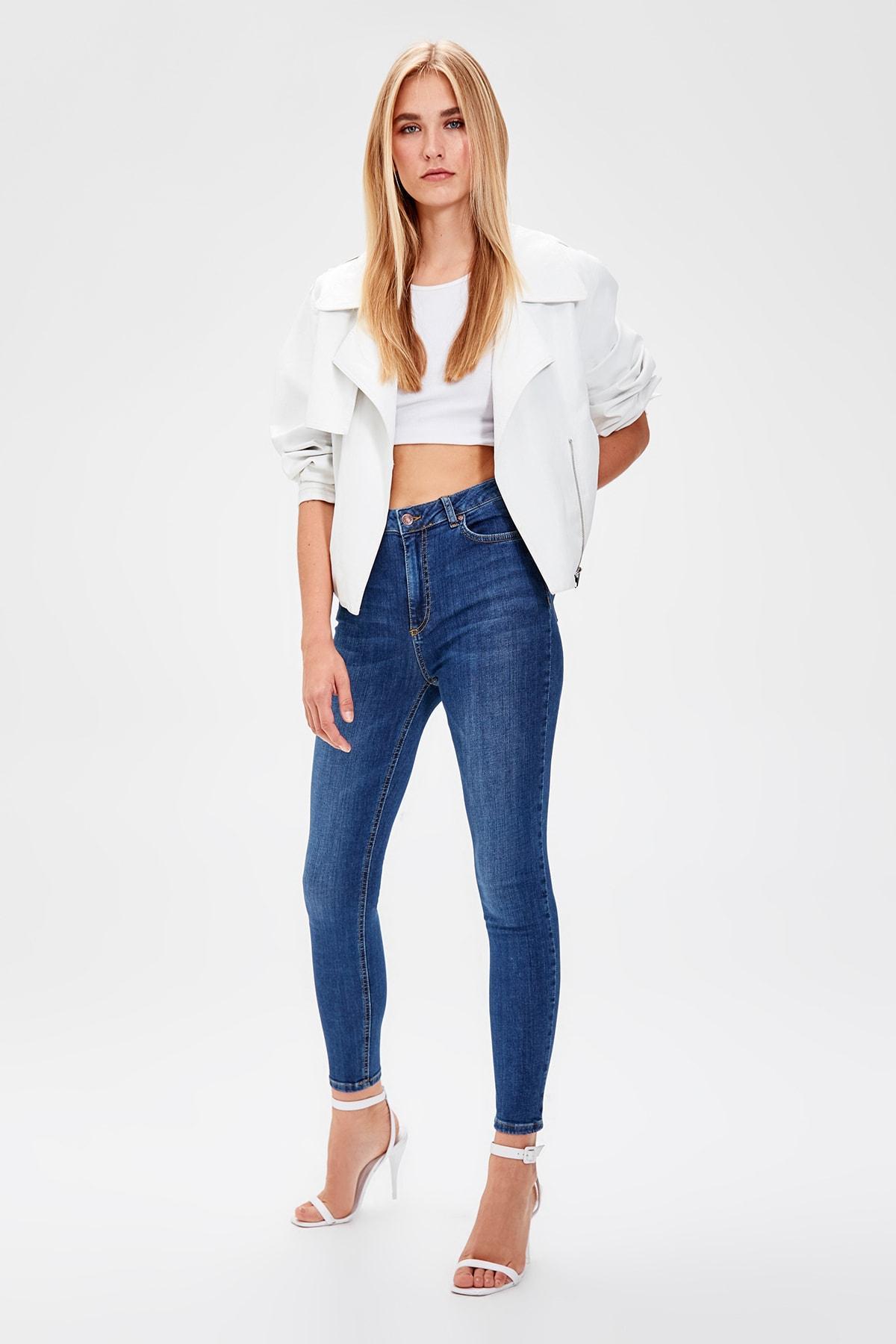 Trendyol Blue High Waist Skinny Jeans TWOAW20JE0036