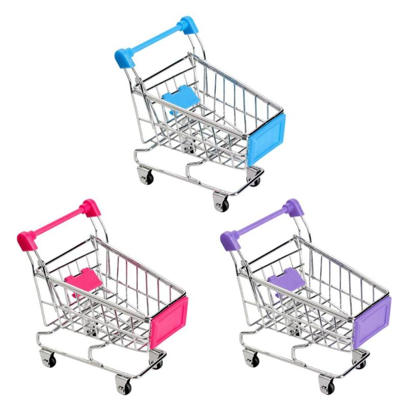 Supermarket Handcart Trolley Mini Shopping Cart Desktop Decor Storage Toy Gift For Kid Dollhouse Furniture Accessories