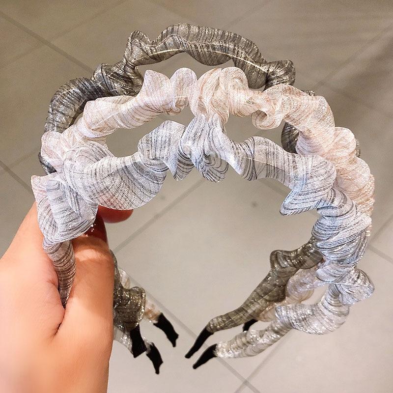 Summer Folds Striped Chiffon Hairbands For Women Girls Sweet Headband Hair Holder Ornament Fashion Hair Accessories