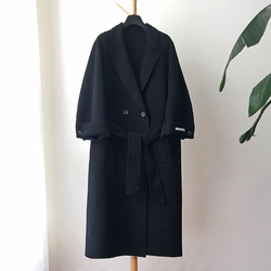Wool coat Women's Long Dark Navy Coat Coat Warm 100% Wool jacket Loose coat 2020 Autumn winter Korean New Wool Blend  Outerwear