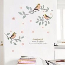 Creative Tree Flower Bird Wall Stickers Removable Art Decal Mural Self Adhesive Wall paper for Home Room Decorative Wallpaper family removable wall stickers for living room art mural home decoration stickers self adhesive wall paper