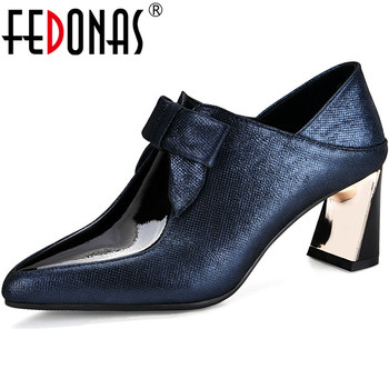 FEDONAS New Genuine Leather Back Zipper Ladies Shoes Office Lady Party High Heels Pumps Butterfly Knot Quality 2020 Shoes Woman