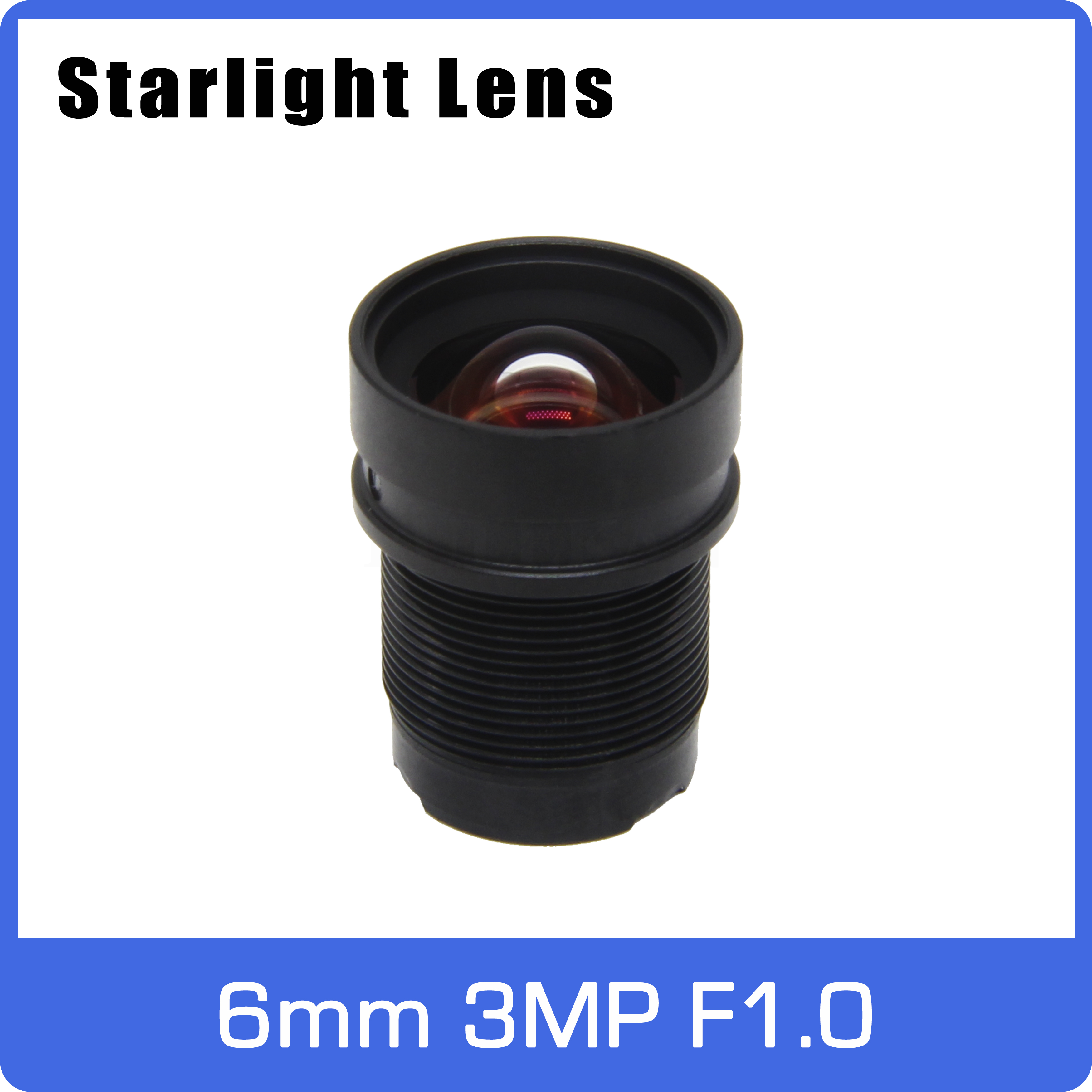Super Starlight Lens Aperture F1.0 3MP 6mm For SONY IMX290/291/307/327 Ultra Low Light  AHD IP Camera Free Shipping