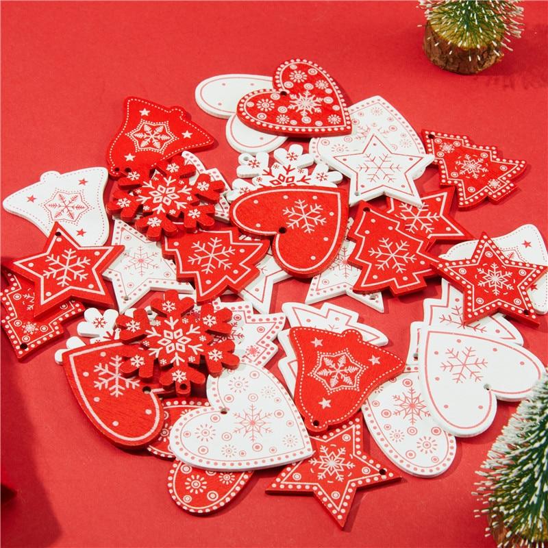 10pcs 5cm New Year Natural Wood Christmas Ornaments Pendants Hanging Gifts Xmas Tree Decor Home Wedding Decoration 62082