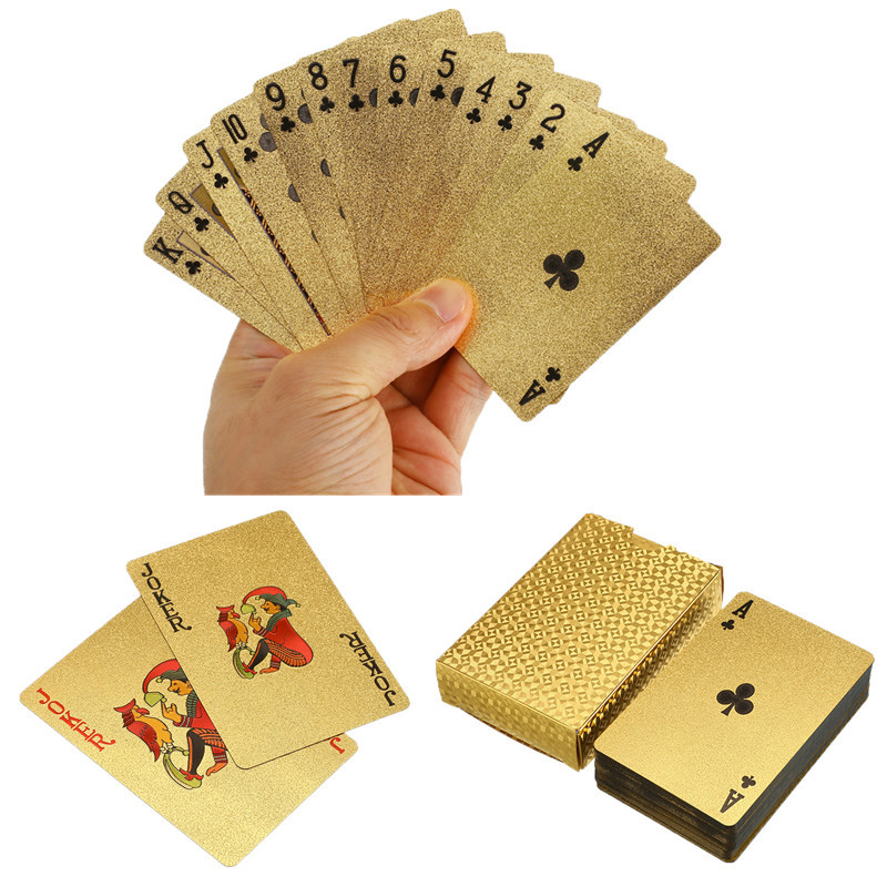 24K Gold Waterproof Plastic Playing Cards Poker =Board Game Poker Game Deck Foil Pokers For Sale