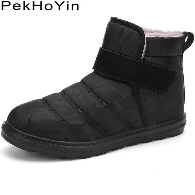 Waterproof Winter Warm Men Boots Shoes High Top Male Snow Boots Fashion Sneakers Outdoor Rubber Men Ankle Boots Shoes Black Man in Snow Boots from Shoes