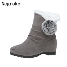 цена на 2019 New Winter Women Casual Warm Fur Boots Shoes Women Slip-On Round Toe Wedges Snow Boots Shoes Plus Size Ankle Boots