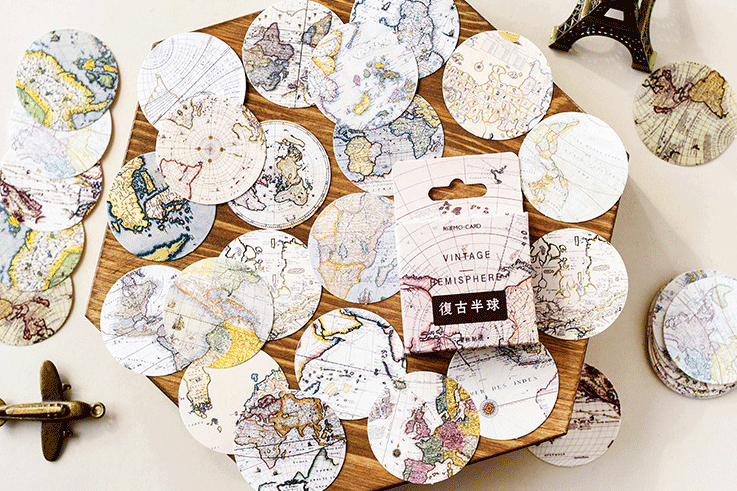 S59- Vintage Earth Diy Decorative Stickers(1pack=46pieces)