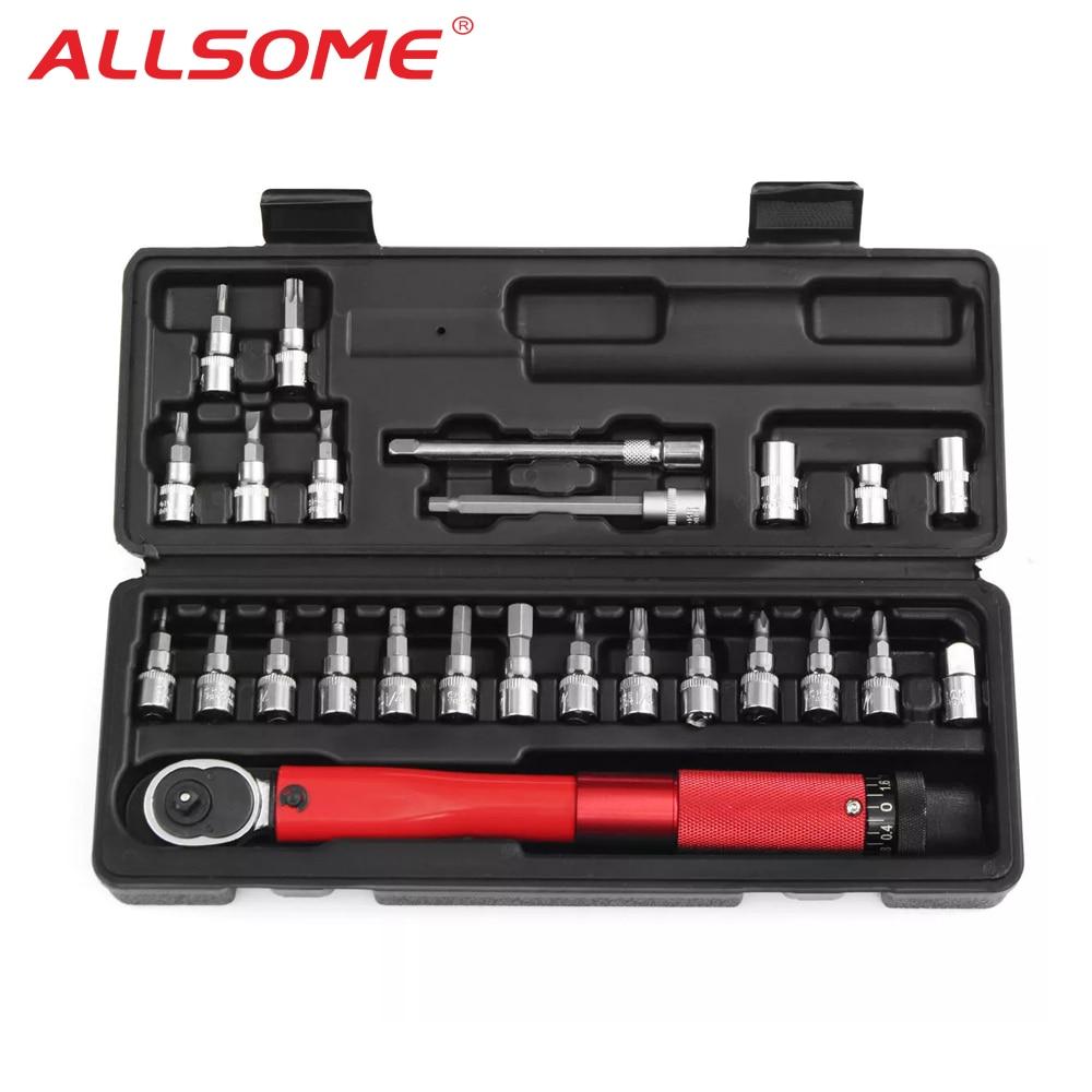 ALLSOME 25PCS 2-24NM Adjustable Torque Wrench Bicycle Repair Tools Kit Bike Repair Spanner Hand Tool Set HT2688