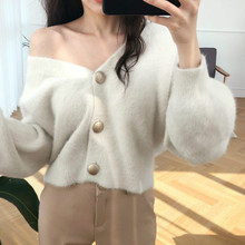 Warm Cardigan Mohair Sweater Women V-neck Pink Knitted Oversized Button Up Sweater 2019 Korean Style Sweaters Ladies Winter Coat