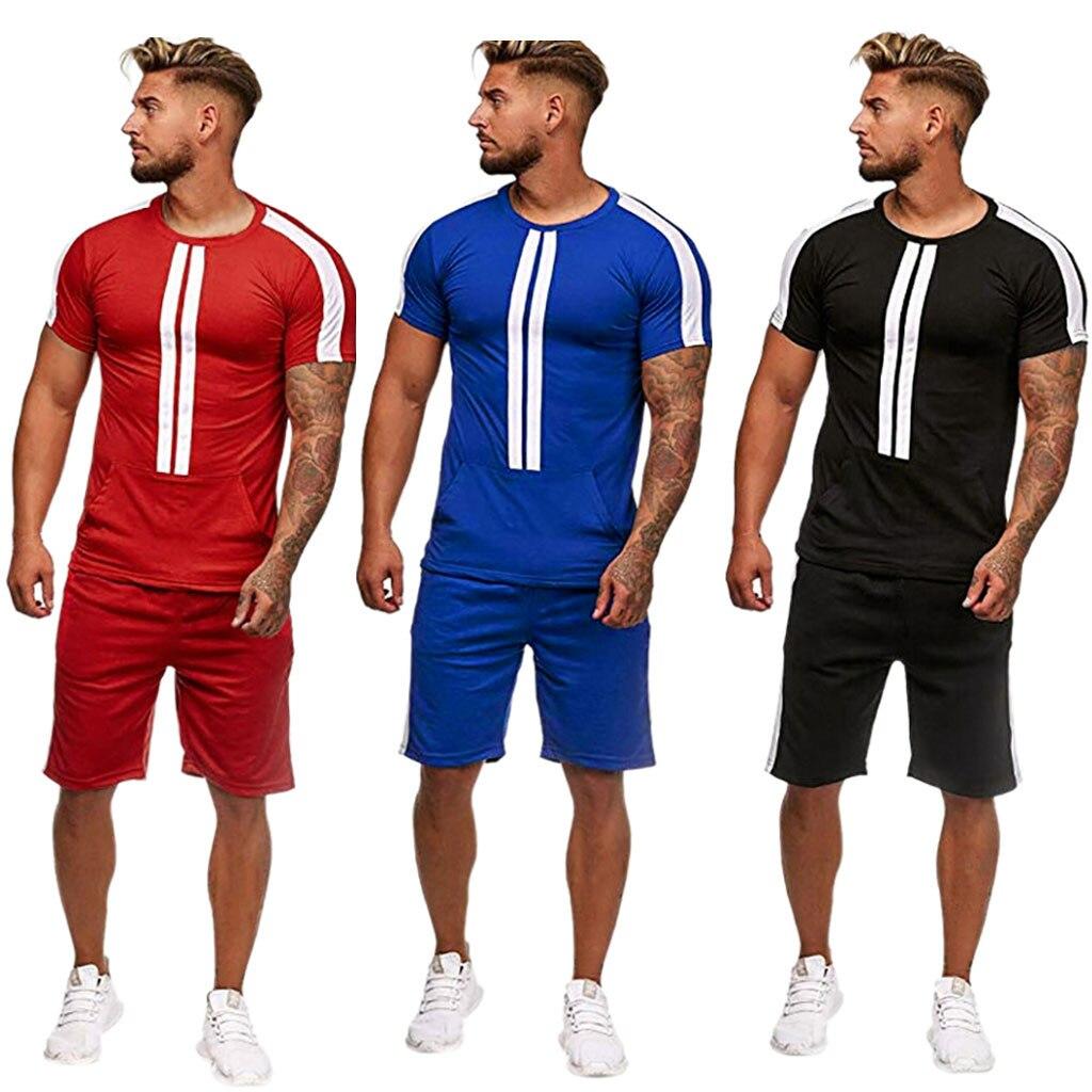 Mens Summer Leisure Fashion Color Collision Short Sleeve Shorts Sports Thin Sets