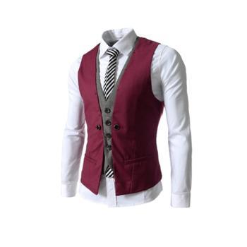 Hot Men Sleeveless V Neck Single-breasted Slim Gilet Business Suit Top Waistcoat