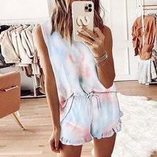 Tie Dye Loungewear Women Home Wear Lounge Wear Shorts Set Homewear Women Pajamas