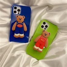 3D Korea cartoon bear fluorescent Holder stand Soft phone case for iphone 12 Pro Max MiNi X XR XS 11 6S 7 8 plus SE 2020 cover