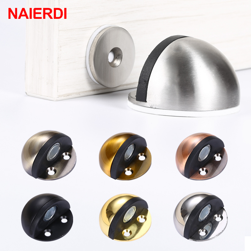 NAIERDI Stainless Steel Rubber Magnetic Door Stopper Non Punching Sticker Hidden Door Holders Floor Mounted Nail-free Door Stops
