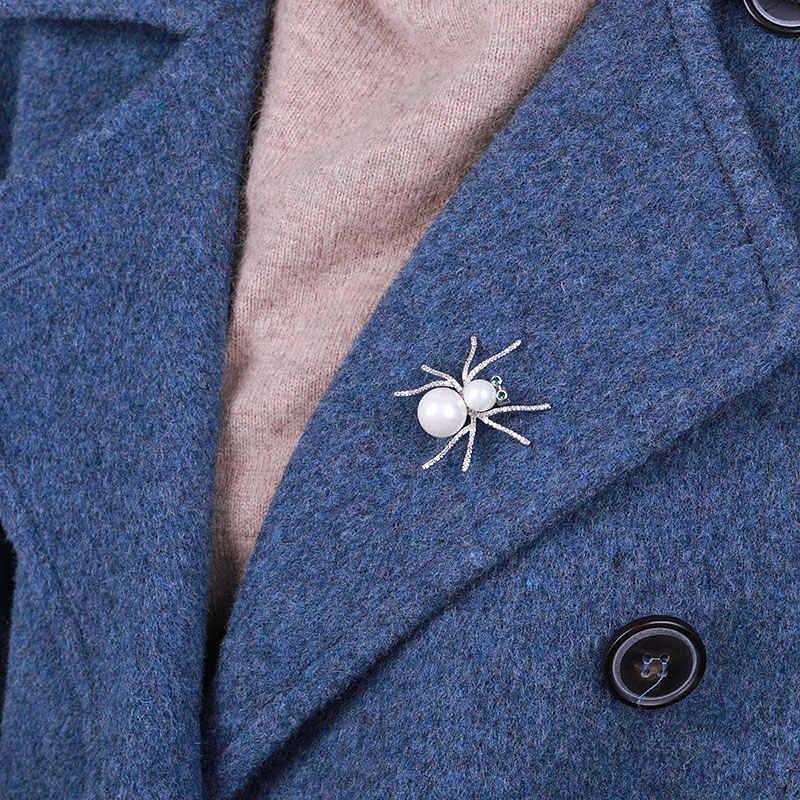 Maikale Vintage Pearl Spider Bros Pin Cubic Zirconia Serangga Bros untuk Wanita Pakaian Pria Kemeja Setelan Syal Pesona Brocade Hadiah