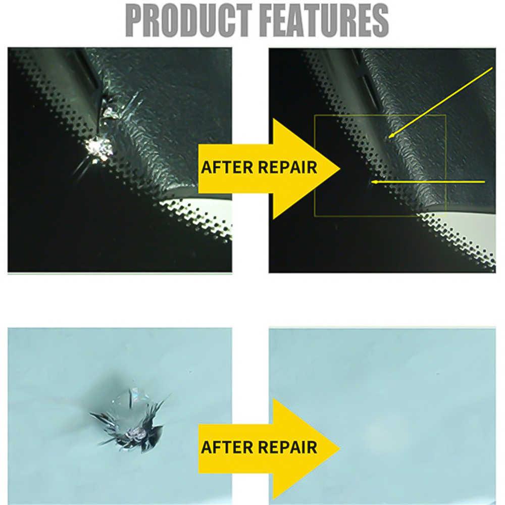 كبير طويل الكراك زجاج سيارة إصلاح أطقم نافذة الزجاج الأمامي أدوات تلميع الغراء الراتنج لاصق مجموعة إصلاح الزجاج شق شق شق