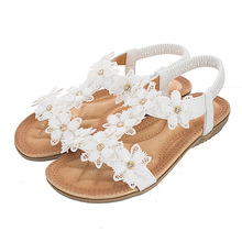 TIMETANGCasual fashion plus size women sandals summer2020 t-type flowers women vacation beach sandals comfortable soft flat shoe