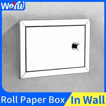 Stainless Steel Toilet Paper Holder Concealed Bathroom Toilet Roll Paper Holder Creative Tissue Box In Wall Paper Towel Holder 2016 real toilet paper holder the airport train station public hotel bathroom stainless steel hand towels sassafras box frame
