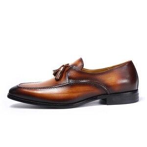 Image 5 - Tamanho 6 13 dos homens borla mocassins feitos à mão couro genuíno marrom formal sapatos festa de casamento dos homens vestido sapatos azul calçados casuais