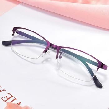 Women Myopia Glasses Ladies Half Frame Anti-blue Light Prescription Glasses Men Finished Eyewear -1.0 To -4.0