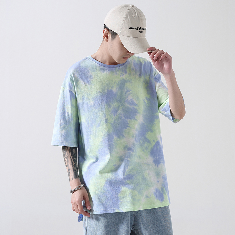 iiDossan Tie Dye Casual Cotton T shirts Men Trending Classic Unique Retro Brand Streetwear Tshirt Women Hiphop High Street Tees