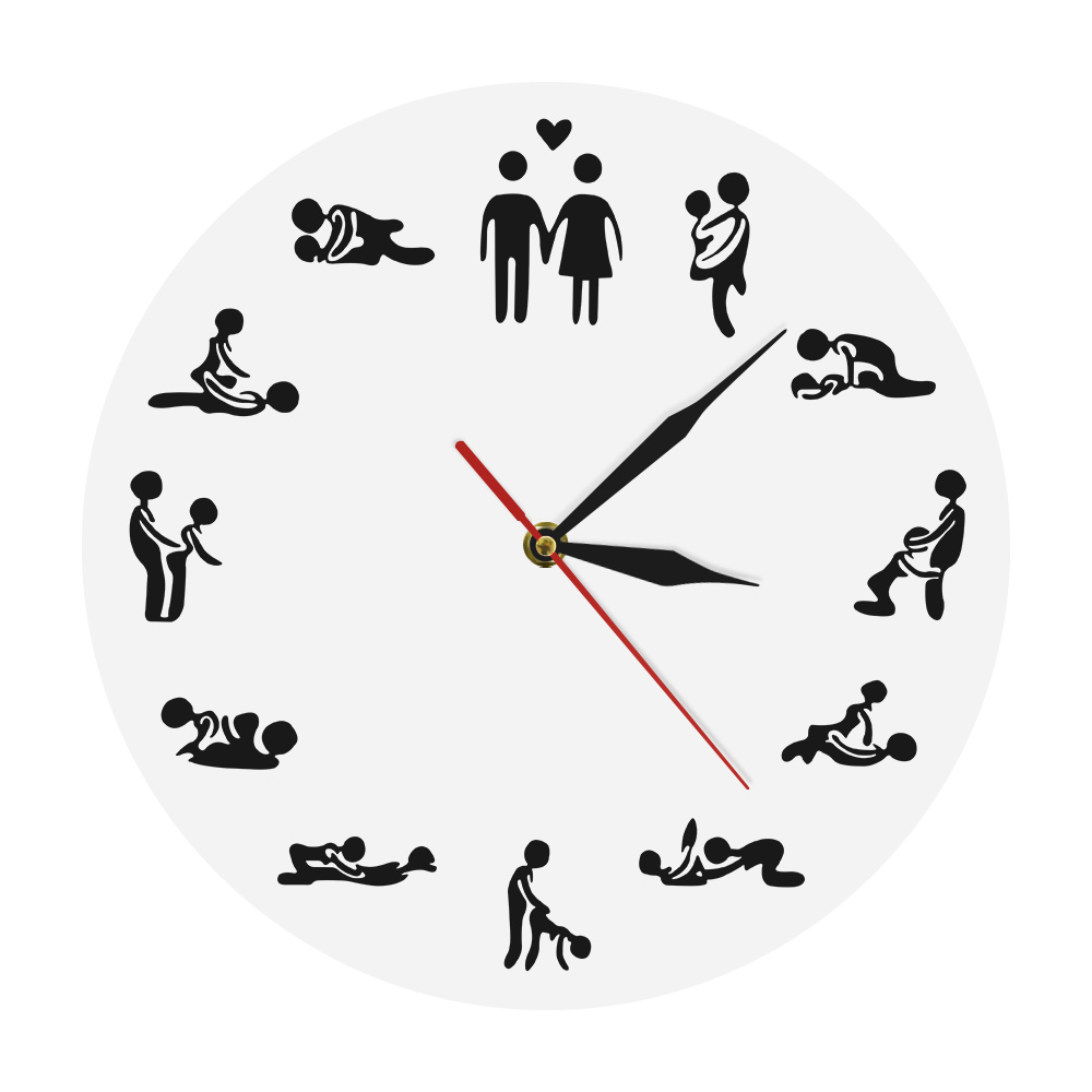 Naughty Intimate Adult 24 Hours Sex Positions Gender Iconic Wall Clock Kamasutra Wall Decor Watch Couple Valentines Wedding Gift(China)