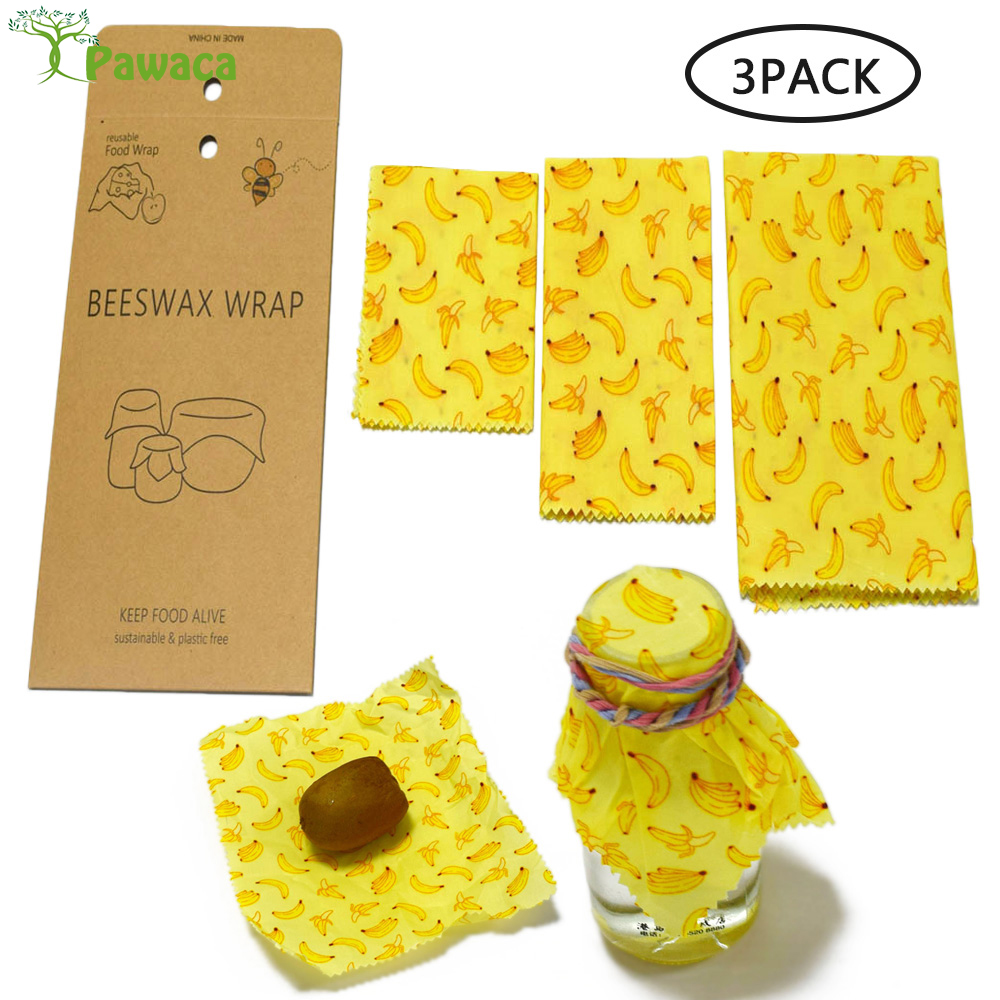 Reusable Beeswax Wraps Food Grade Beeswax Fresh Cloth Lids Fruit Storage Bag Eco Friendly Food Fresh Keeping Washable Covers