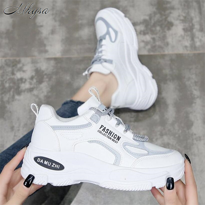 Mhysa 2020 Women Shoes Fashion Whiter Platform Sneakers Ladies  Chunky Causal Shoes Woman Leather Sneakers Shoes Chaussure Femme