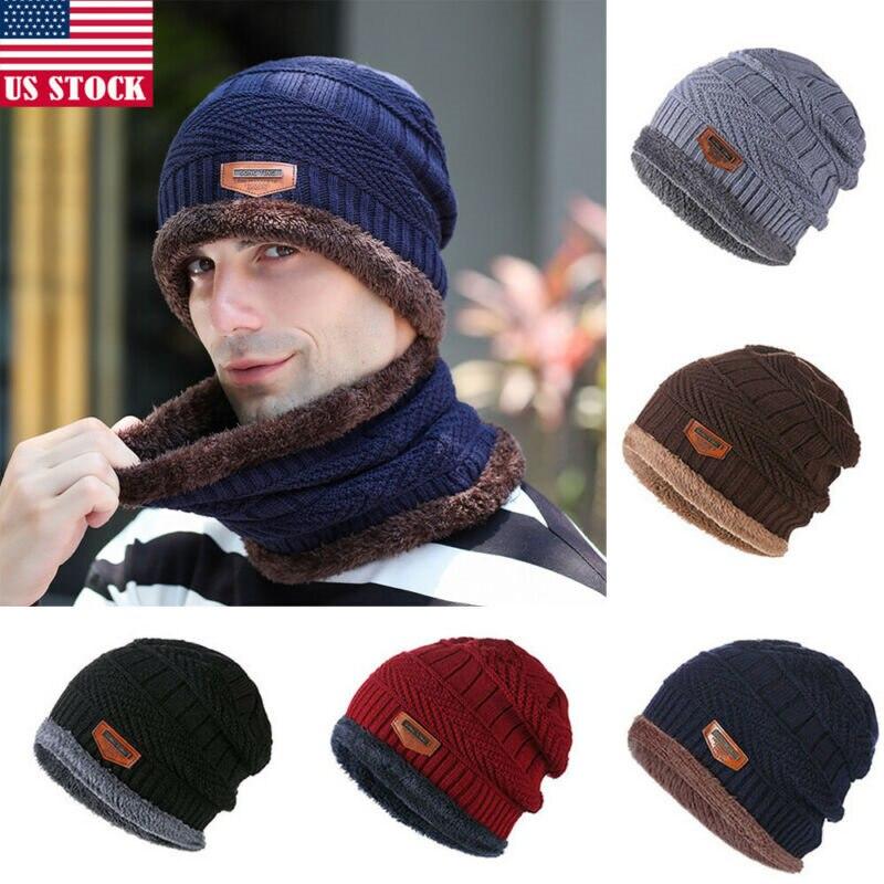 2Pcs Men Women Winter Warm Crochet Knit Baggy Beanie Wool Skull Hat Ski Cap Scarf Set