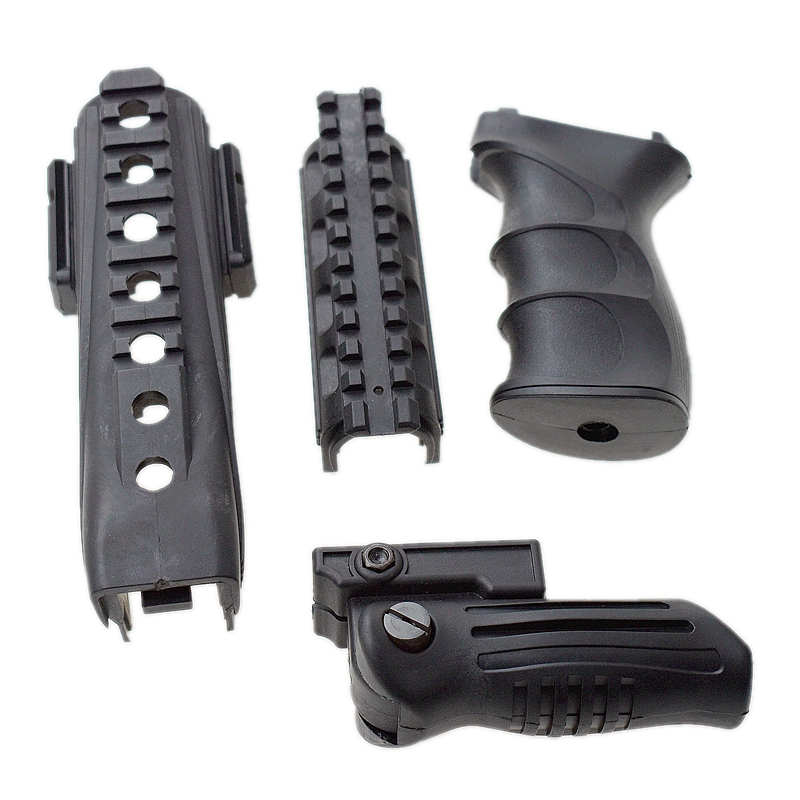 Tactical AK 74 Series Grip ABS Handle Foregrip 20mm Rail W/ Strikeforce Polymer Handguards Upper Lower Picatinny Rails