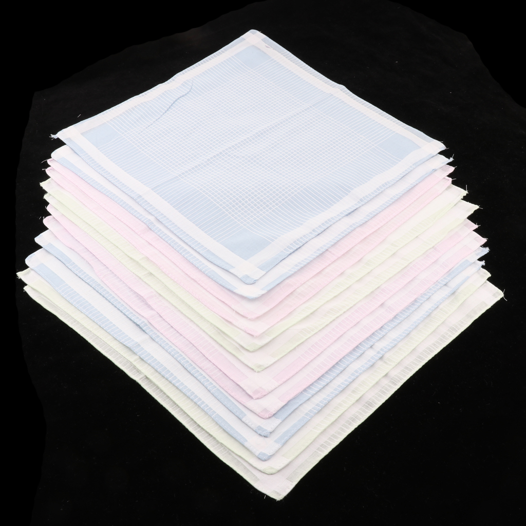 12pieces Women Colorful Light Color Handkerchief Cotton Hanky