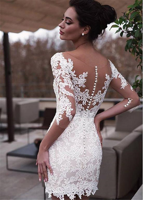 Marvelous Jewel Neckline 2 In 1 Wedding Dresses With Detachable Skirt Lace Appliques 3/4 Sleeves Two Pieces Bridal Gowns 2021 3