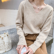 Autumn Winter Women Sweaters Thin Pullover Solid V-neck Loose Elegant Office Casual All Match Knitted Tops Female