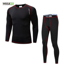 WOSAWE Mens Cycling Base Layer Winter Thermal Fleece Underwear Suits Jersey Shirt Sports Long Johns Winter Keep Warm(China)