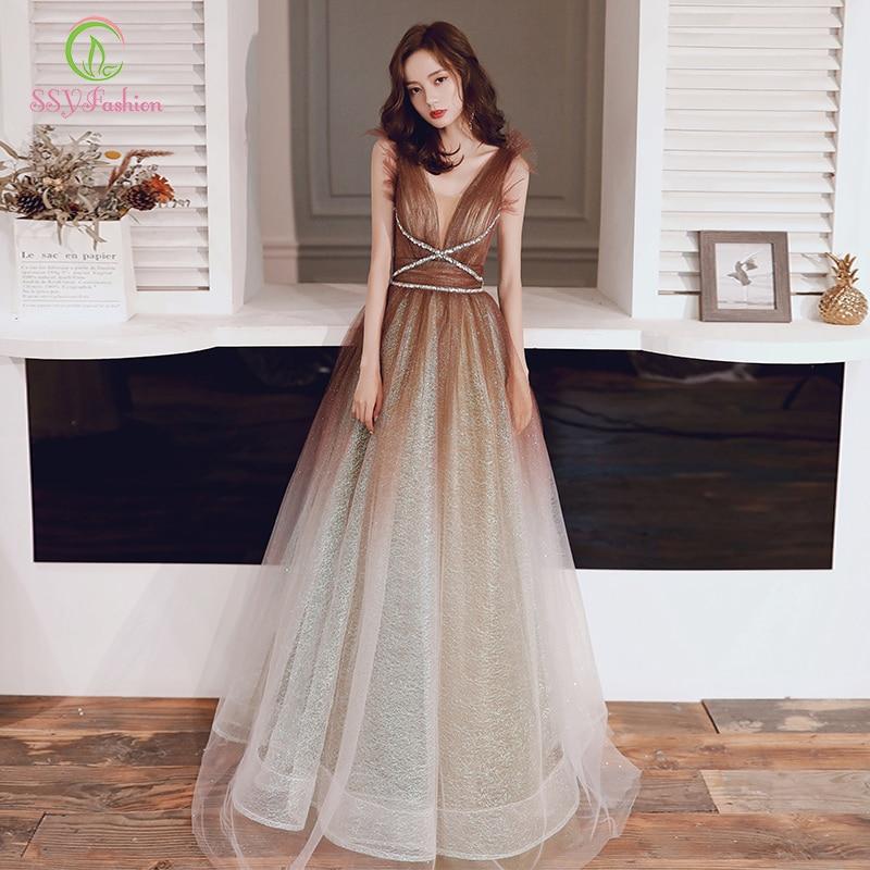 SSYFashion New Luxury Shining Evening Dress Elegant Banquets Gradient Khaki V-neck Sexy Backless Long Formal Prom Gown Vestidos