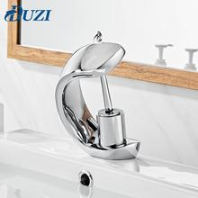 Waterfall Basin Sink Deck Mounted Solid Brass Faucets Mixer Taps Single Handle Cold and Hot Water Bathroom Chrome Faucet deck mounted short basin faucets orb finished basin hot and cold mixer faucets bathroom single handle sink taps faucet mixer