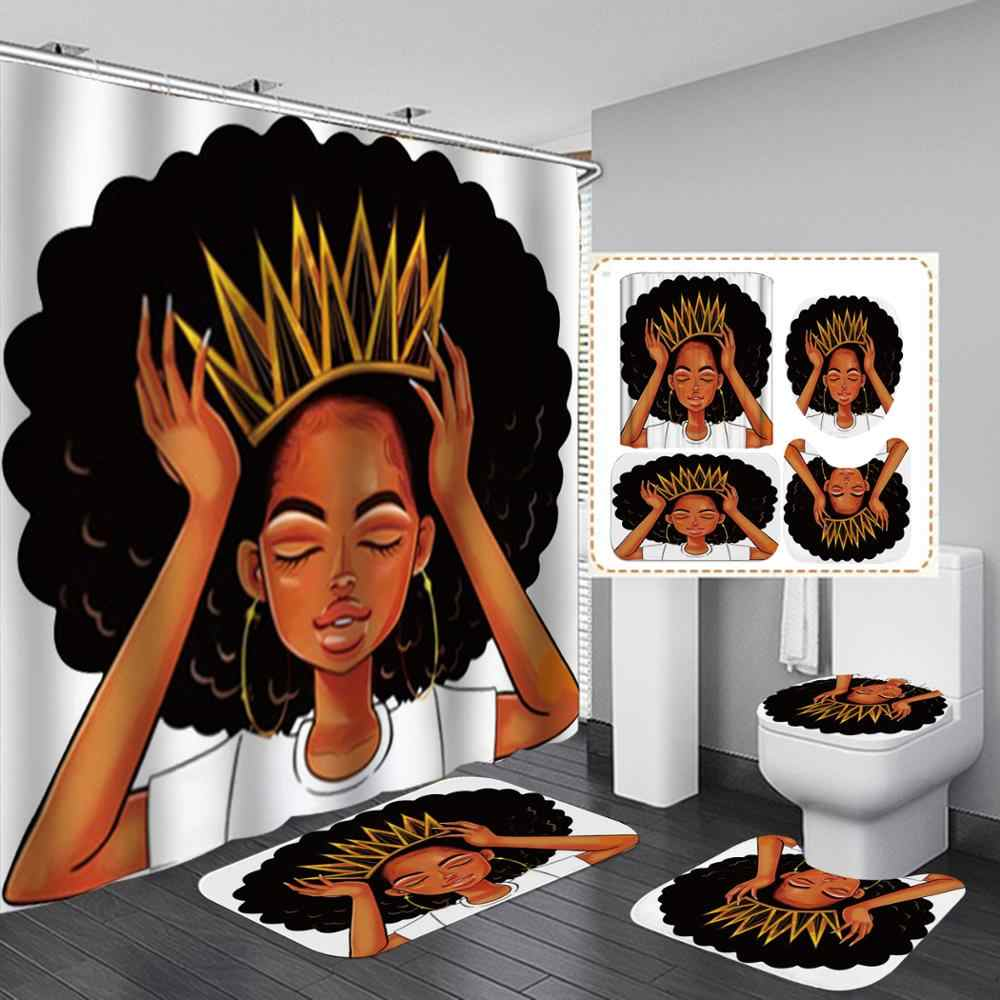 Afrocentric  Shower Curtain Princess African Girl Crown Waterproof Polyester