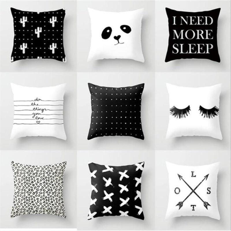 45*45 см INS скандинавский черный белый чехол для подушки с геометрическим рисунком, полиэфирный чехол для подушки, декоративный Чехол для авто...