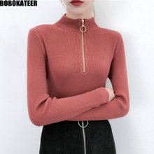 BOBOKATEER Fashion Korean Casual Knitted White Half Turtleneck Pullover Women Sweater Female Pull Tops Winter Clothes Fall 2019