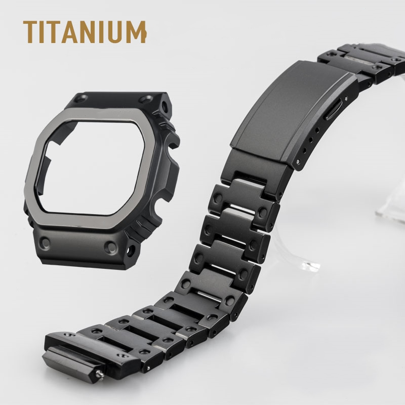 Black Titanium Watchbands and Bezel For <font><b>DW5000</b></font> GM-W5610 GW5000 DW5035 Watch Set Watchband Bezel/Case Metal Strap With Tools image