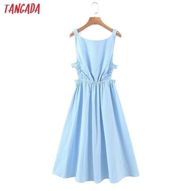 Tangada Women Solid Color Backless Beach Midi Dress Strap Sleeveless 2021 Fashion Lady Dresses Vestido 1M32 1