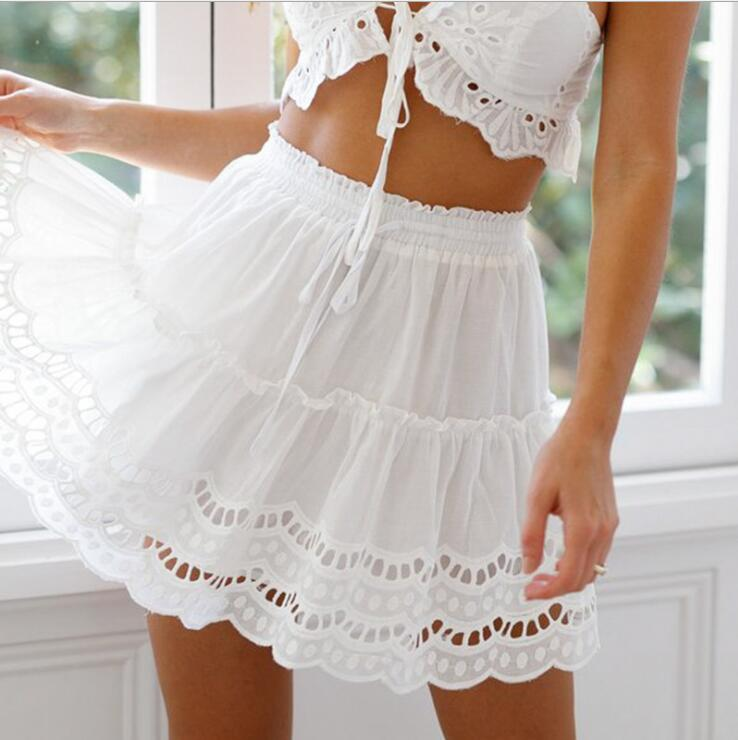 A-line High Waist Women Skirt White Embroidery Cotton Mini Skirts 2019 Casual Loose Ruffle Beach Summer Skirt Female
