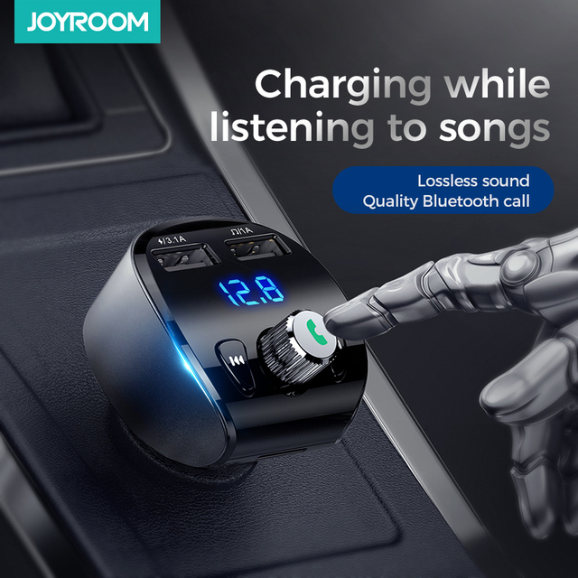 Joyroom Fast Car Charger FM Transmitter Modulator Bluetooth 5.0 Handsfree Car Kit Audio MP3 Player With QC3.0 Dual USB Adapter