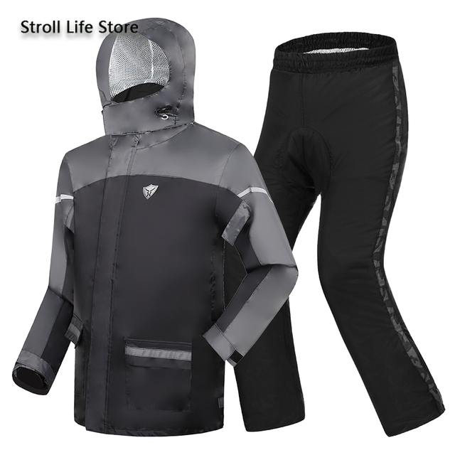 Adults Motorcycle Raincoat Rain Pants Suit Men Rain Jacket Poncho Thickened Reflective Rain Coat Clothes Waterproof Suit Gift