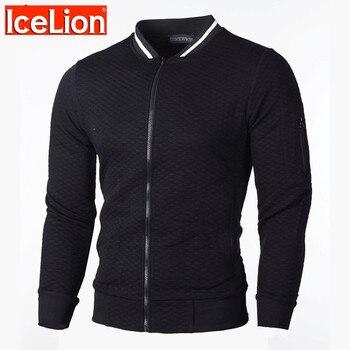 IceLion 2020 New Turn-down Collar Jacket Men Fashion Double Zipper Cardigan Coat Spring Spring Casual Solid Slim Fit Windbreaker