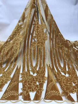 Nigerian Lace Fabric 2019 High Quality sequins Velvet Lace Fabric Embroidered Tulle African Lace Fabric