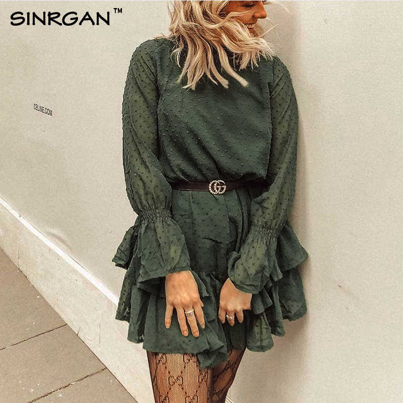 SINRGAN Turtleneck Polka Dot ruffles Dress Women 2019 Spring Black Long Sleeve Lace up Elegant Neck Mini Dress