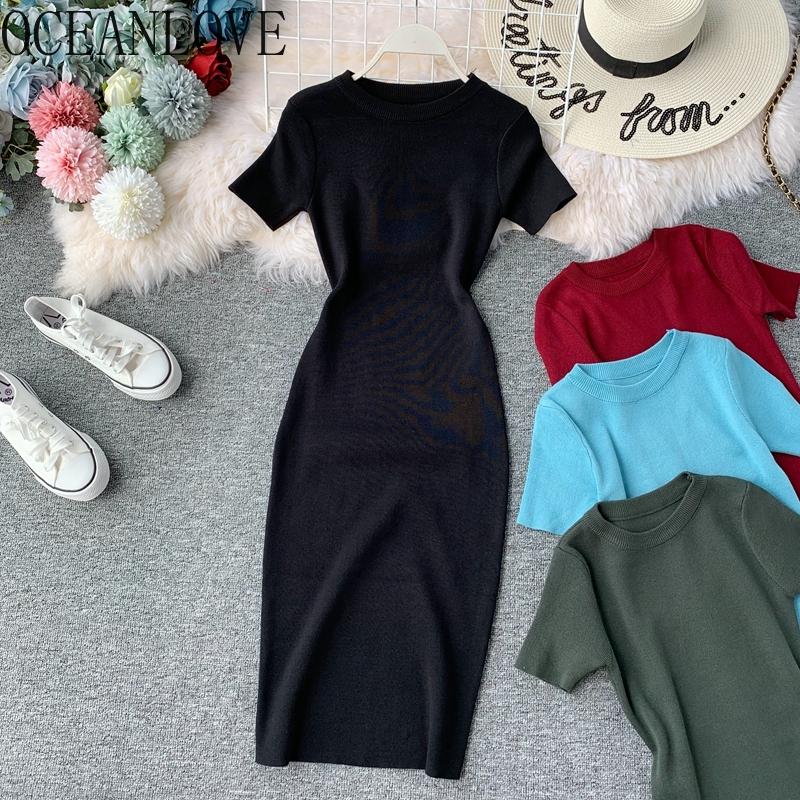OCEANLOVE Sexy Dress Women Solid Bodycon Short Sleeve Summer Mini Dresses O neck Knitting Stretch Retro High Waist Vestido